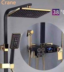 Hot Cold Digital Shower System Bathroom Wall Mounted Shower System Thermostatic Black Mixer Faucet Square Head Rainfall Bath Tap Plumbing