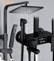 Digital Shower System Bathroom Wall Mounted Black Shower Set Square Head Rainfall Bath Faucet Hot Cold Mixer Shower System LED Plumbing