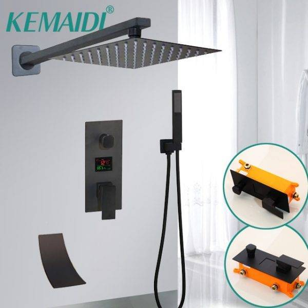 KEMAIDI Black Matte Bathroom Shower Faucet Rainfall Shower Head 3 Ways LED Digital Display Mixer Water Faucets Shower Set Plumbing