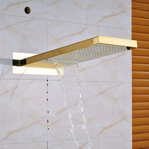 Quyanre Gold Digital Shower Faucets Set LED Rain Waterfall Shower Head 3-way Digital Display Mixer Tap Concealed Bathroom Shower Plumbing