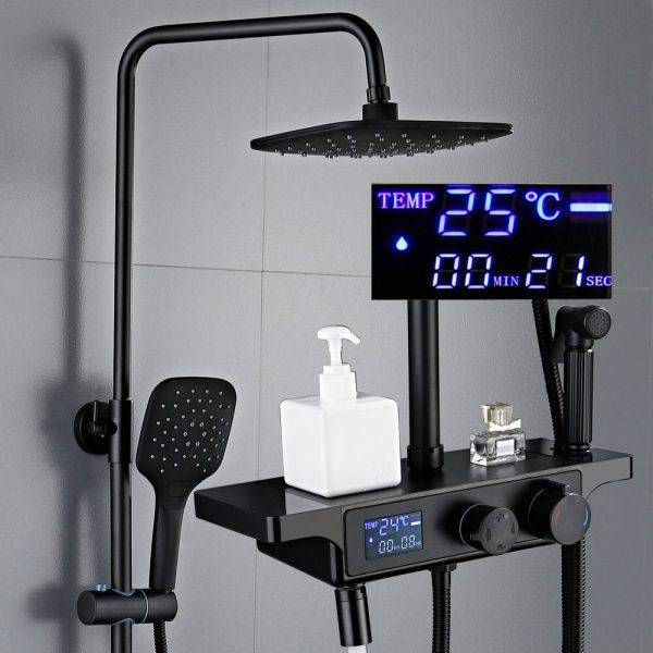 Black Bronze Digital Shower Set Fashion Black Bathtub Mixer Tap Hot Cold Bathroom Mixer Faucet Black Thermostatic Shower Set Plumbing