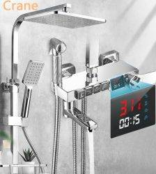 Thermostatic Shower System Bathroom Wall Mounted LED Digital Showers Set Hot Cold Water Mixer Bath Faucet Square Head Rainfall Plumbing