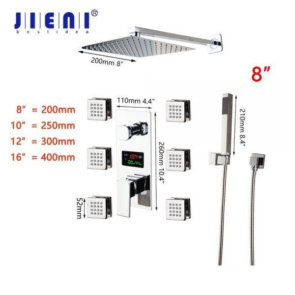 JIENI 8~16 Inch LED Bathroom Shower Set Faucet Square Chrome Brass Message Jets Digital Display Rainfall Kit Hand Shower Set Plumbing