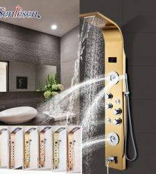 Bathroom Golden Shower Column Panel Wall Mount Digital Temperature Screen led light Shower Faucet System Massage Jet Shower Set Plumbing