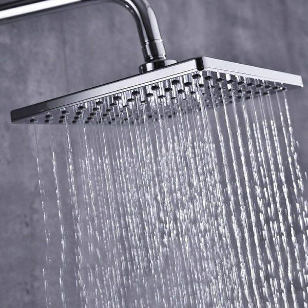 LED Digital Shower System Wall Mounted Thermostatic Shower Set Bathroom Hot Cold Mixer Bath Faucet Square Head Rainfall Faucets Plumbing