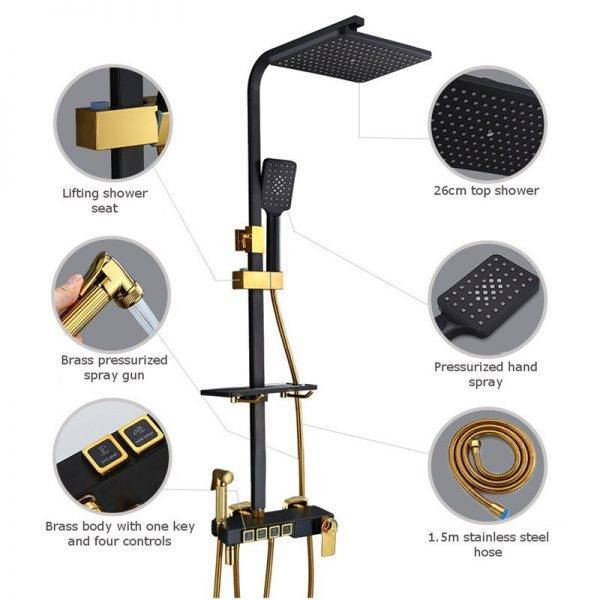 Hot and Cold Digital Shower Set Faucet Bathroom Shower System Black Gold Shower Faucet Square Shower Head Bath Shower System Plumbing
