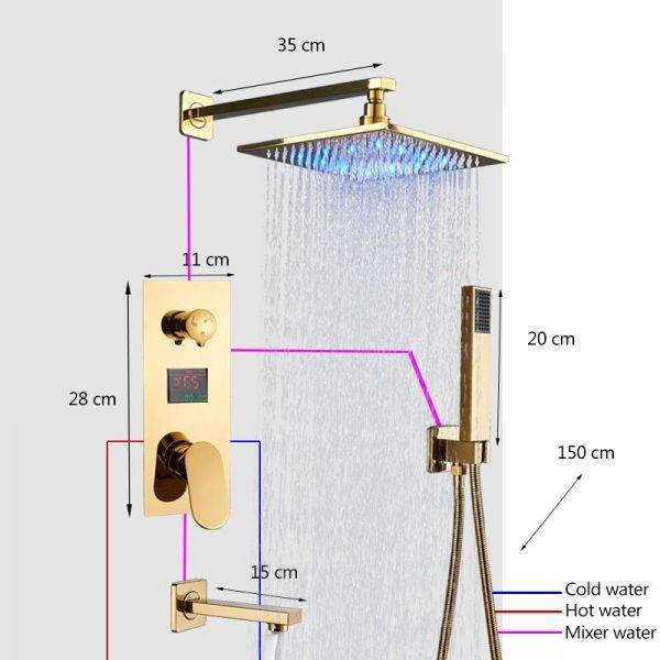 LED Gold Shower Faucet Bathroom Rainfall Shower Set Digital Display 3 Way Bath System Luxury 8/10/12/16 Inch Brass HotCold Mixer Plumbing