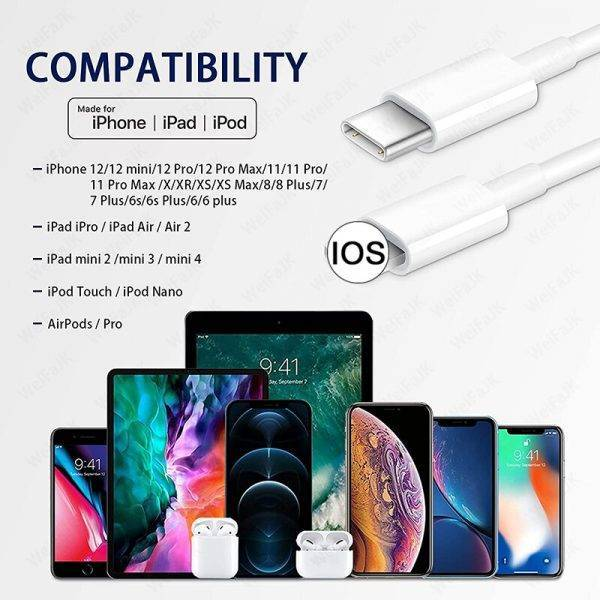 20W PD USB Type C to Lighting Fast Charger Cable For Apple iPhone 12 11 Pro Max Mini X XR 8 7 6 6s Plus iPad Pro Data Sync Line ELECTRONICS