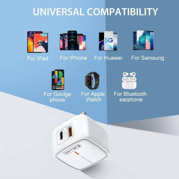Jellico QC3.0 PD 18W UK Plug Charger USB Type C Fast Charging Adapter Travel Wall Charger for iPhone 12 11 Pro Max for Samsung ELECTRONICS