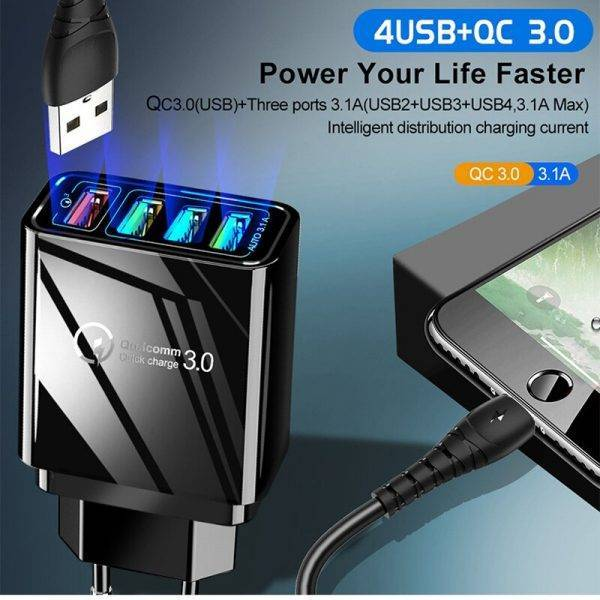 48W Quick Charger 3.0 USB Charger For Huawei P30 QC 3.0 Fast Wall Charger EU UK Plug Adapte For Xiaomi Type C Cable Super Charge ELECTRONICS