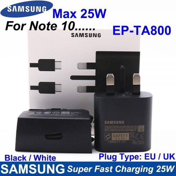 25W Samsung Super Fast Charger EU / UK Dubbele Type C Travel Quick Charging For GALAXY Note10 Note10 Plus Note 20 Ultra EP-TA800 ELECTRONICS