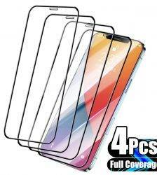 4Pcs Full Cover Protective Glass for iPhone 13 11 12 Pro Max Screen Protector for iPhone X XS Max XR 13 Mini Glass Cell Phones & Accessories