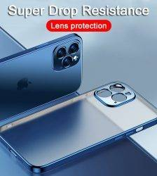 Luxury Plating Square Frame Silicone Transparent Case on For iPhone 11 12 13 Pro Max Mini X XR 7 8 Plus SE 2020 Clear Back Cover Cell Phones & Accessories