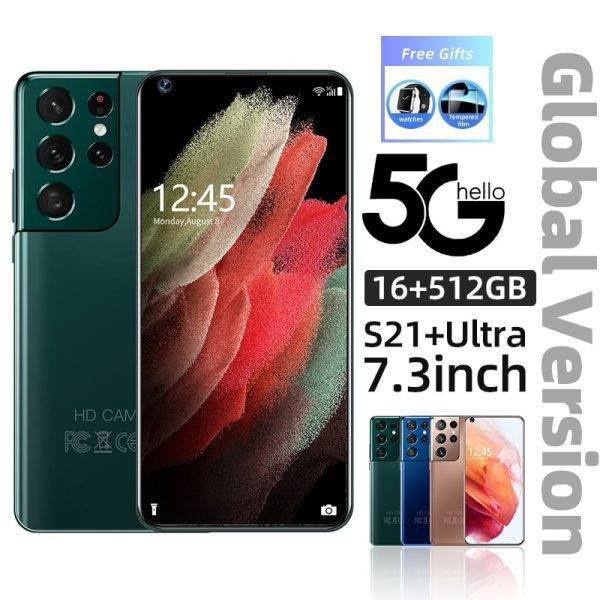New Galaxy S21+Ultra 7.2 Inch Smartphone 6800mAh Unlock Global Version 5G Android 10 24MP+48MP 16GB+512GB Moblie phones Celular ELECTRONICS Mobile Phone