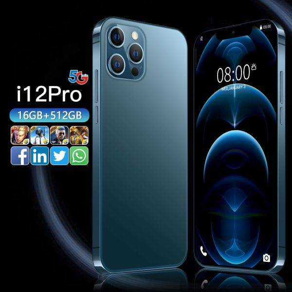 Global Version I12 Pro Max 6.7inch Smartphones 6800mAh 16G+512G Android Phone Celular Case Touch Screen Face ID 5G Network Phone ELECTRONICS Mobile Phone
