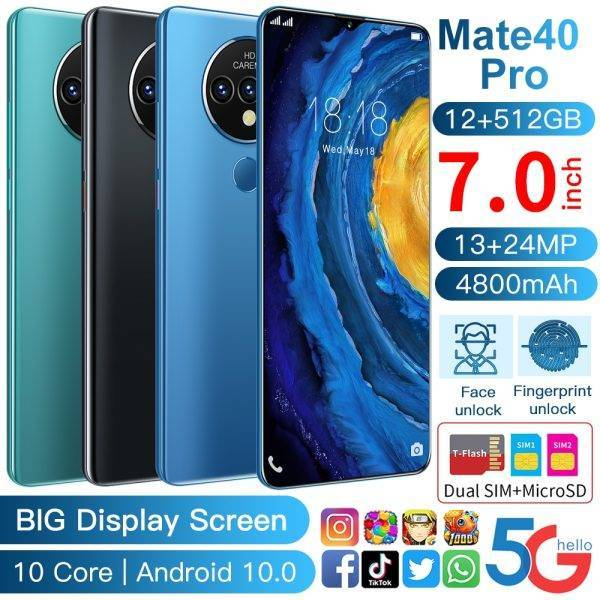 Global Version Ultra Thin Mate40 Pro Smartphone 6000mAh Full Screen 7.30 Inch Deca Core 8GB 512GB 4G LTE 5G Network Cell phones ELECTRONICS Mobile Phone